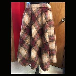 Bias Cut 1970's Brown Wool Plaid Vintage Skirt 28W